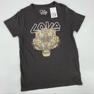 Chaser Black Love Tiger Graphic T-Shirt NWT Large